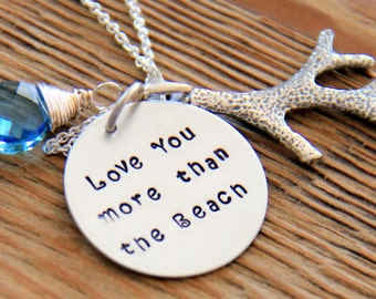 Beach Necklace, Beach Wedding, Sterling Silver, Love you more than the beach, Summer Necklace, Coral, Blue, Ocean, Summer accessory