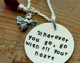 Wherever you go Necklace, Confucius Necklace, Sterling Silver, Doctorate, Masters,Go with all your heart, Journey Love Necklace Confucius, ,