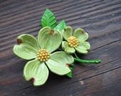 Green posey. Vtg Celluloid dogwood brooch, pin, metal and plastic. Great vintage condition.