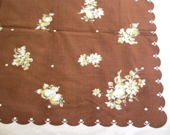Brown pears. Vtg midcentury tablecloth / brown yellow white / rectangle / fruit floral