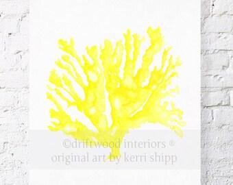 Sea Coral in Marigold Yellow Print - Coral Art Print - Sea Life Wall Art