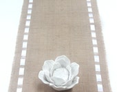 Wedding Burlap Table Runner with Double Face Satin Ribbon - Rustic Home/Wedding - Elegant Holidays