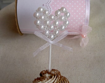 Wedding Cupcake Toppers - Heart Cupcake Toppers - Cupcake toppers Pearl Heart - Bridal shower cupcake toppers - White - Set of 6