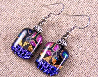 Dichroic Earrings - Pink Purple Copper Orange Green Black Patterned Dicro Patchwork Dangle or Clip-On