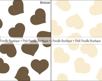"SHIMMER HEART CONFETTI (100 pc) -- 1/2"" or 3/4"" -- Bronze, Ivory Opal/Cream -- pif.pay it forward.aok"