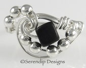 Sterling Wire Wrapped Ring, Argentium Sterling Silver Black Beach Glass Cube Galaxy Ring, Black Matte Glass and Silver Statement Ring