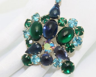 Crown Vintage Weiss Brooch Blue and Green