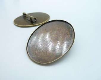 6pcs 30x40mm Pad Antique Bronze Brass Round Cameo Cabochon Base Setting Brooch Back With Safety Pin c2985