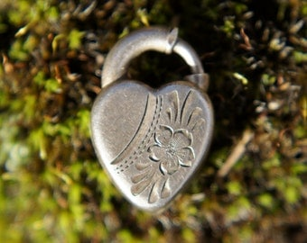 Sterling Victorian Lock Heart Charm