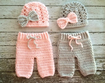 Twin Photography Prop Set in Pale Pink and Gray- Crochet Baby Pants in 0-3 Month Size and 3-6 Month Size- MADE TO ORDER