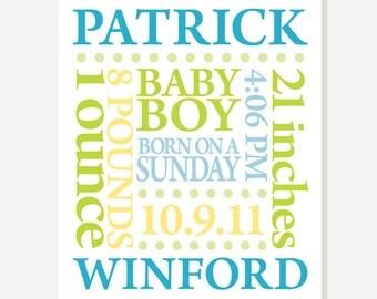 Nursery Print - Baby Name Birth Date Personalized Subway Art - Custom Colors - Poster Digital Print
