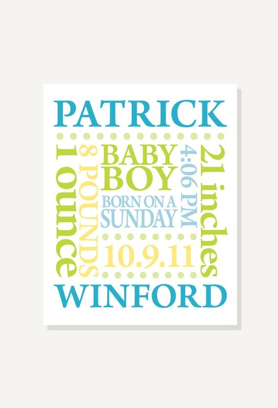 Nursery Print - Baby Name Birth Date Personalized Subway Art - Custom Colors - Poster Digital Print