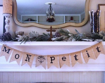 "SHABBY CHIC NURSERY Banner - Mon Petit ""My Little Love"" - French Nursery - Rustic Nursery"