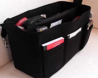 Extra Large Bag organizer - Purse organizer insert in Black fabric