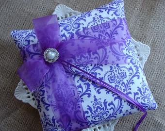 Wedding Ring Bearer Pillow -  Purple & White Damask Side Bow Pillow