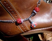 Boot Bling Boot Bracelet - Ladybug Bling- Red, Silver, Chain, Cowgirl, Country