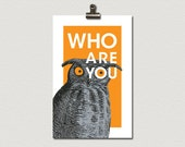 Who Are You Vintage Owl Poster Print 11 x 17