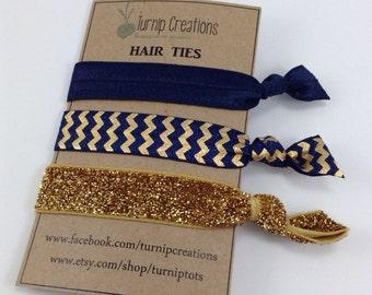 Hair Ties Navy & Gold Metallic Chevron Glitter FOE elastic Yoga Bands