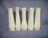 MILK GLASS VASES Set of 5 - 9 Inches Tall - Wedding Table Floral Centerpiece Decor - Home Decor - Milkglass Vase - The Grass Harpist