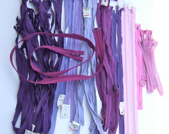 Purple and Pink Lot of 51 assorted Zippers