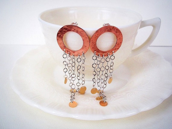 Statement Jewelry. Long Earrings. Copper Silver and Gold Post Earrings. Boho Jewelry