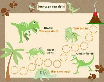 Printable Reward Chart for Children Personalized -  Dinosaur Adventure! Jpeg or PDF