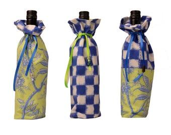 Wine bag Fresh & Ikat check