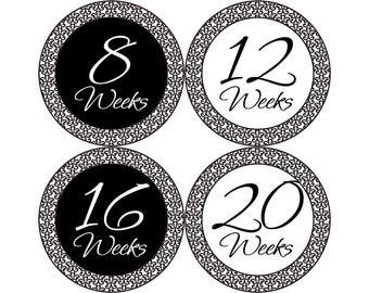 Pregnancy Announcement Photos, Belly Stickers, Pregnancy Photo Prop, Pregnancy Stickers, Pregnancy Bump Stickers, Damask (G150-P)