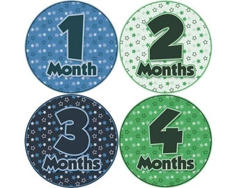 Monthly Baby Stickers, Boys First Year Photo Props, Baby Month Stickers, Baby Announcement, Monthly Photos, Baby Gift, Blue Green (B059)