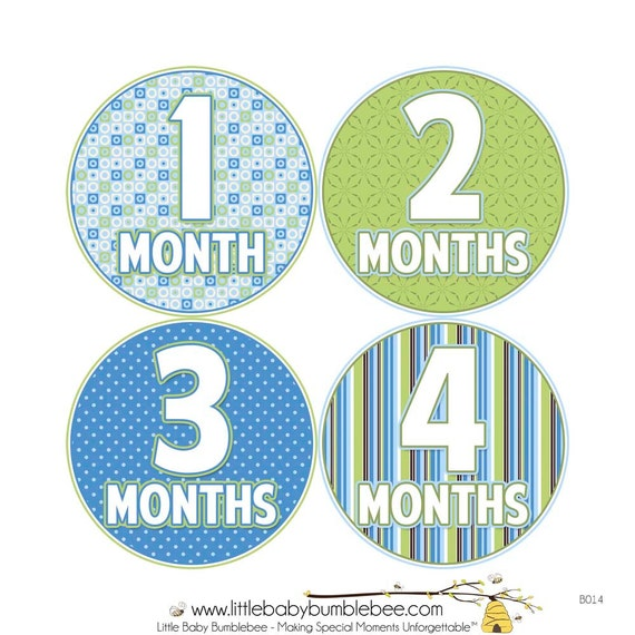 Baby Month Stickers, Monthly Baby Stickers, Monthly Photo Stickers, Boys First Year Photo Props, Baby Shower Gift, Green Blue (B014)