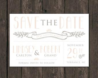 Vintage Modern Save the Date Prints. Custom wedding invitations (2007)