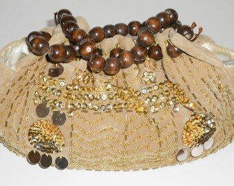 Tan Purse Gold Sequin Wooden Beads Fabric Vintage