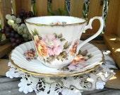 Birks Teacup Tea Cup and Saucer  - Richly Decorated English Bone China 11517