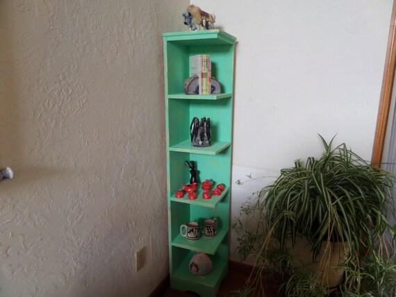 60 In Tall Distressed Mint Green Corner Shelf Bookcase