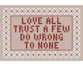 Shakespeare-Inspired LOVE ALL Cross Stitch Chart