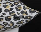 "Tan Leopard Pillow Cover- Charcoal Black - Ivory - Tan 13x20"" Lumbar"