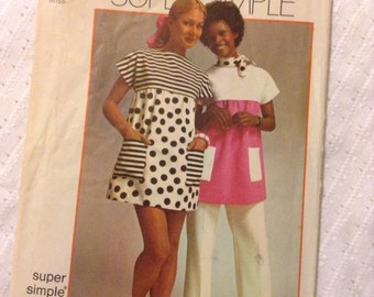 """Vintage Simplicity 5467 Mini Tent Dress or Smock Top Sewing Pattern Size 34 to 36"""" Bust"""