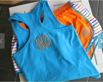 Monogrammed Running Shorts and Racerback Tank Set