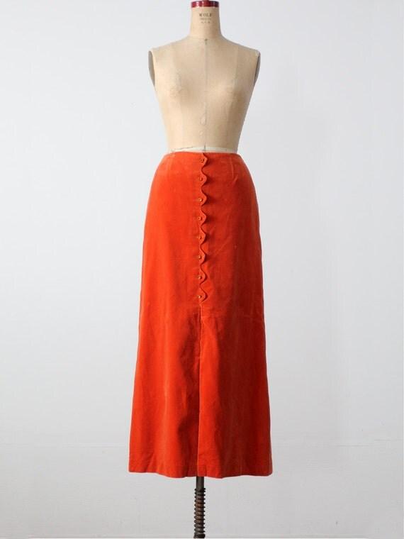 vintage 70s Maxi skirt / orange velvet skirt