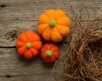 Needle Felted Pumpkins orange mango rust autumn, fall, halloween, thanksgiving, harvest decor eco friendly decor