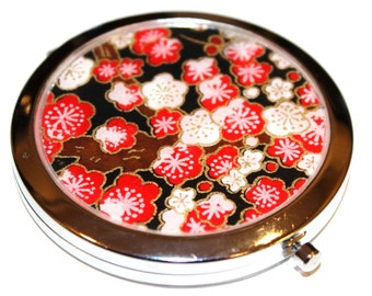 Compact Mirror. Red Cherry Blossoms on Black Chiyogami