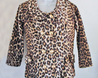 1960s Bombshell MOD Hand made fake leopard fur Jacket and matching Vest