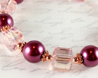 Pink Pearl and Crystal Bracelet, Bordeaux, Burgundy, Copper, Bridal, Wedding, Bridesmaid