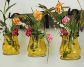Colored Jar Trio with Wrought Iron hooks on wood home decor bedroom decor wall decor