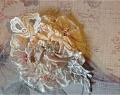 TICKLED PINK MILLINERY Flower Applique With Pearls Lace and Millinery Veiling