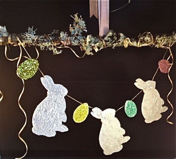 Glittered Easter Bunny Banner/Mobile with Glittered Easter Eggs, Woodland moss and lichen