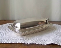 Vintage Butter Dish Silver Plate Serving Dish Butter Tray Fine Dining Butter Keeper 1970s