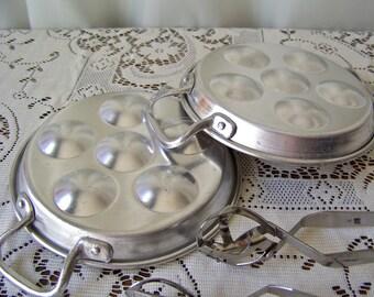 Vintage Escargot Pans Snail Serving Pan Aluminum Kitchenware  80s Vintage