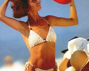 Woman Vintage Crochet Bikini set  Pattern only with written instruction and diagrams Chart in Pdf files.