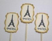 10 Cupcake Toppers - Food Picks - Eiffel Tower - Merci - France - Paris Wedding - Bridal Shower - Baby Shower -  Birthday